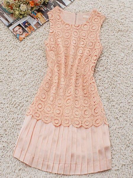Pink Sleeveless Pleated Bottom Dress