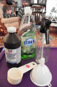 1 cup dish washing liquid (I used Dawn the first time but I have since found out that any brand will work.) 2 cups hydrogen peroxide a spray bottle funnel (to lessen the mess pouring it into the bottle)
