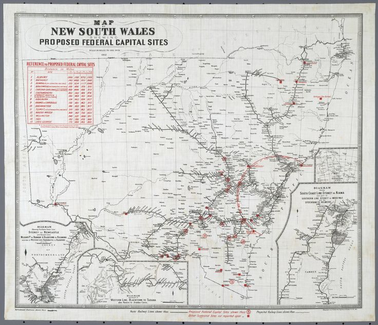 1901 Map of New South Wales showing proposed federal capital sites