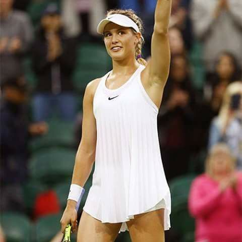Eugenie Bouchard wearing her Nike Nightie.