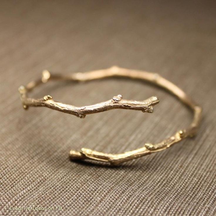 gold twig bracelet