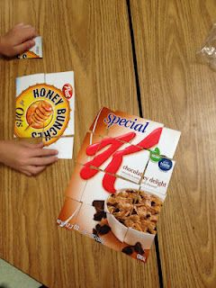 Team Building -  teams, each with two/three different cereal puzzles. First team to put their puzzles together win.
