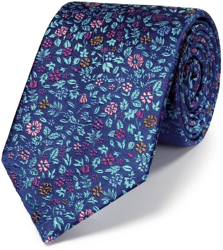 Luxury navy multi floral tie