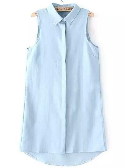 Buy Blue Lapel Sleeveless Denim Shirt Dress from abaday.com, FREE shipping Worldwide - Fashion Clothing, Latest Street Fashion At Abaday.com