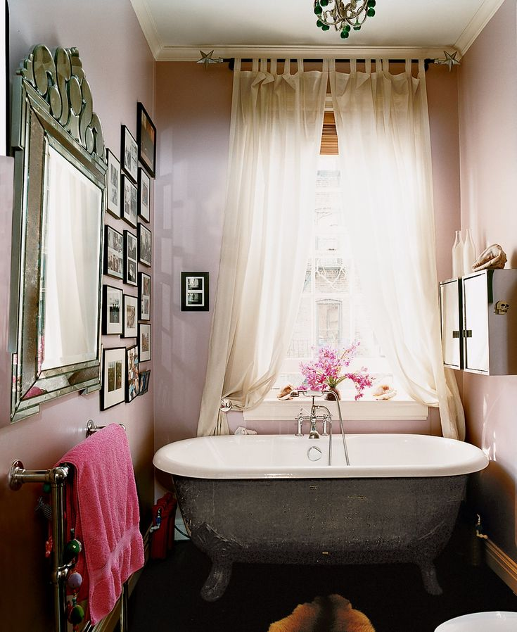 the lilac bathroom with venetian mirror in stella tennants west village home 2003