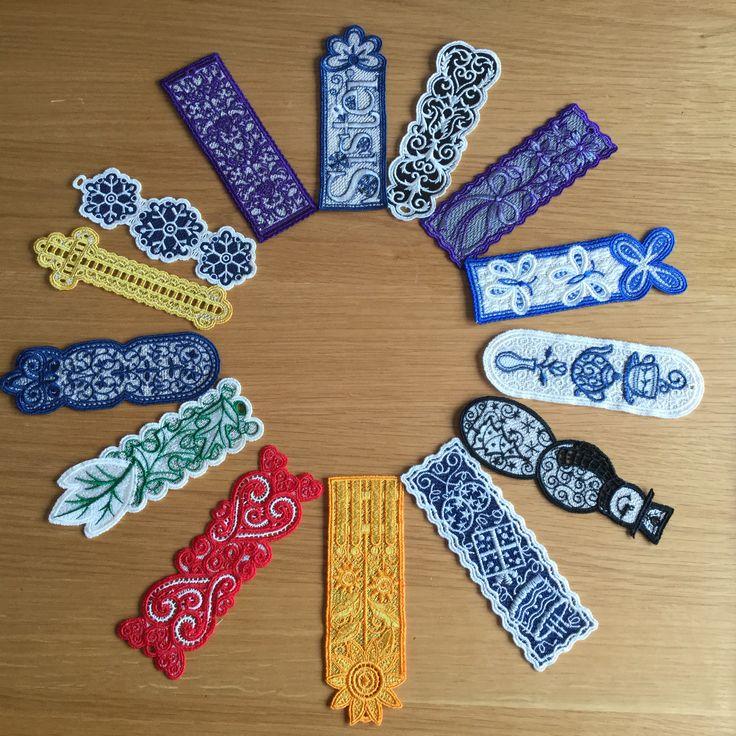 Machine embroidered bookmarks