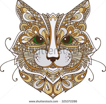 Hand drawn colorful doodle illustration of a cat head decorated with zentangle ornaments