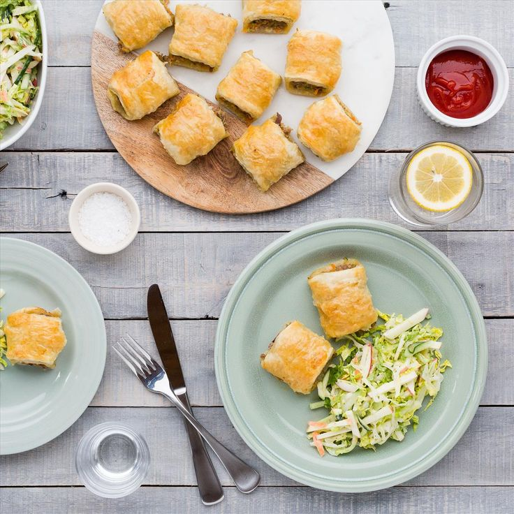 Pork, Apple and Cranberry Sausage Rolls with Apple Cucumber Slaw