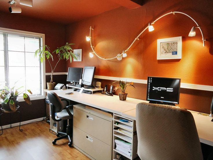 Furniture, Wall Mounted S Track Lighting Fixtures For Small Modern Home Office Design With Dark Orange Wall Interior Color Decor Plus White Wooden Desk With File Cabinet Storage Ideas ~ Office Lighting