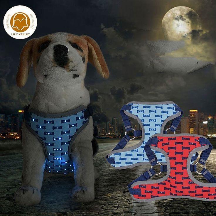 Haustiere Hund Geschirr Leuchtend Hundehalsband Fur Tiere Von Kleinen Hunden Versor Dog Harness Dog Supplies Dog Pet Beds
