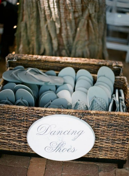 Planning on dancing all night? Flip flops in your color scheme are perfect for the dance floor, and a useful party favor.