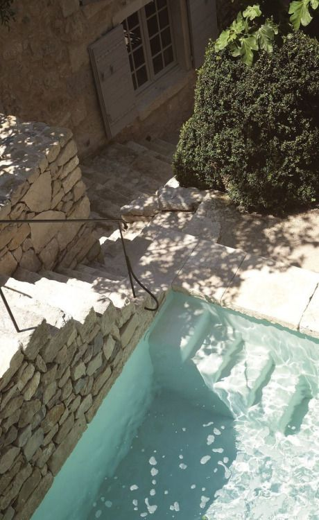 Courtyard, stone, pool, tree