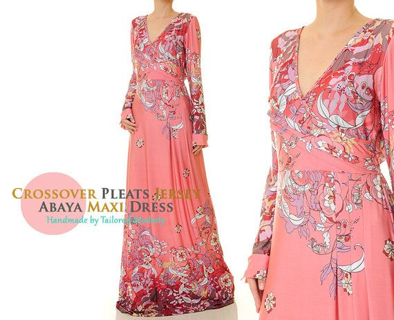 Pink Floral Crossover Pleated VNeck Jersey Long Sleeved Abaya Maxi Dress - Size S/M (6179)