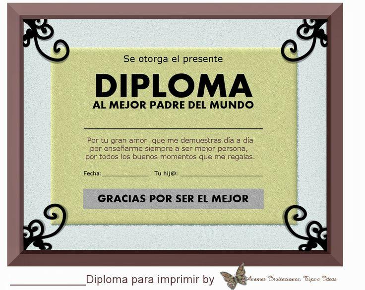 Anamar Invitaciones: Diploma para Papá