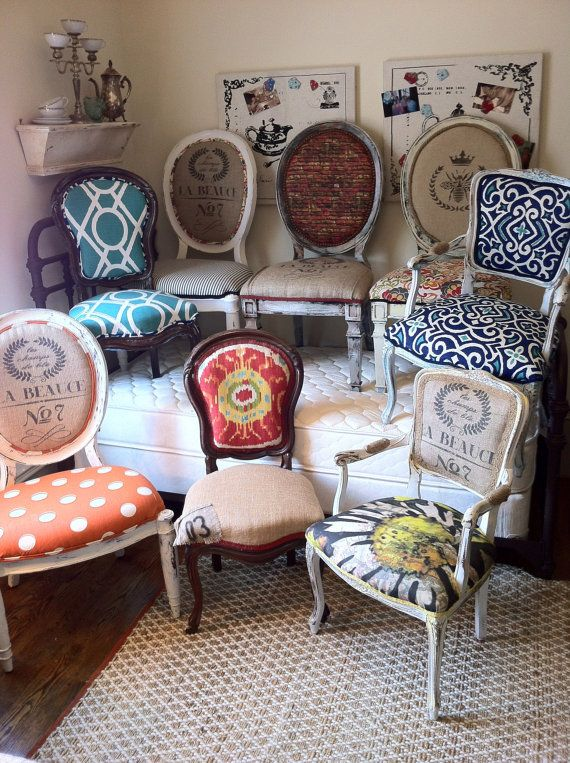 Eclectic Dining Chairs- for a formal dinning/game table. Small Round dining table, four different chairs!