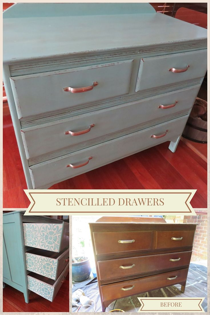 Little retro set of drawers completed with Provence chalk paint. Added surprise when you open the drawers with a Tuscan tile design stencilled on the drawer sides.