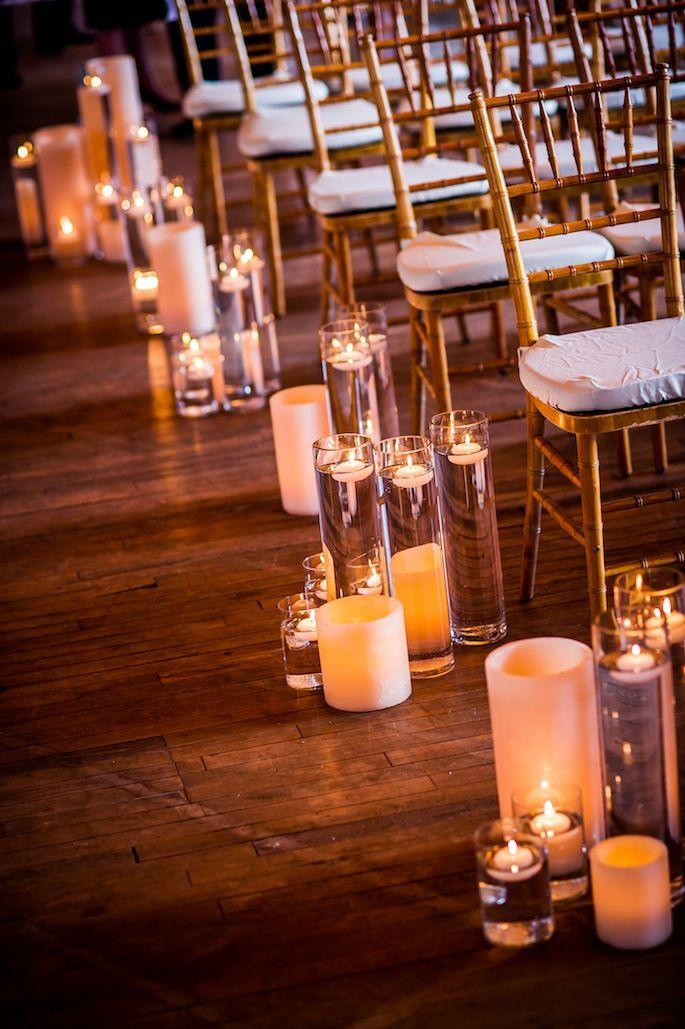 wedding ceremony, candle aisle decor