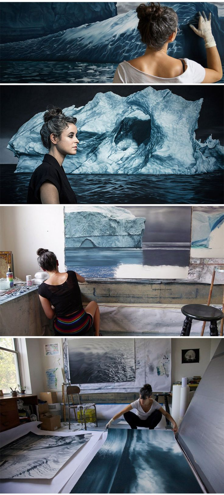 Zaria Forman working in her studio       http://www.zariaforman.com/