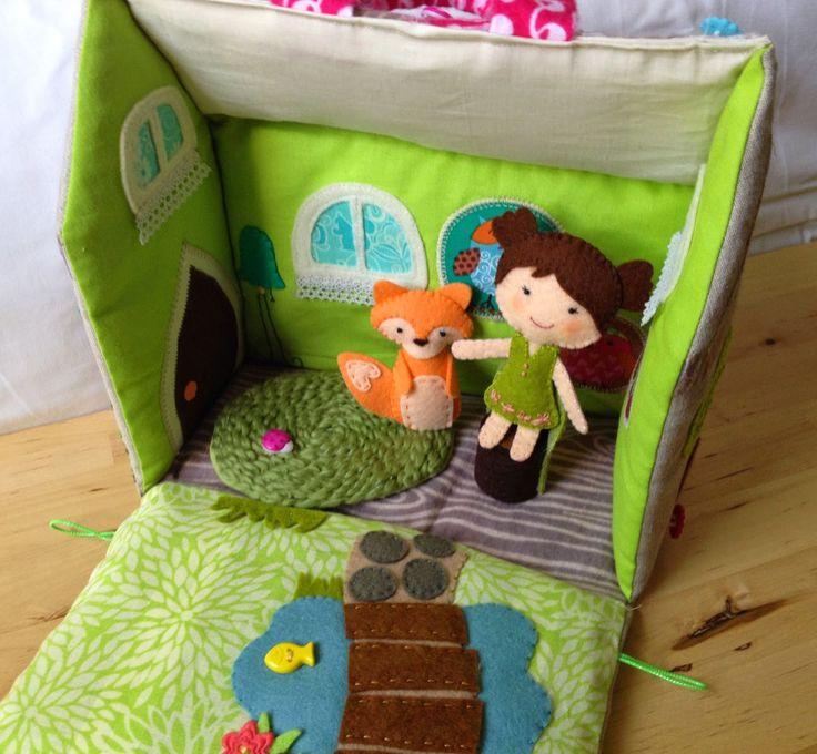 soft doll house with felt doll and fox