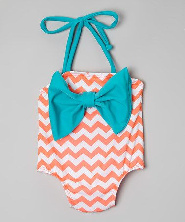Another great find on #zulily! Aqua & Orange Chevron Bow Swimsuit - Infant & Toddler by Daisy's Swimwear #zulilyfinds