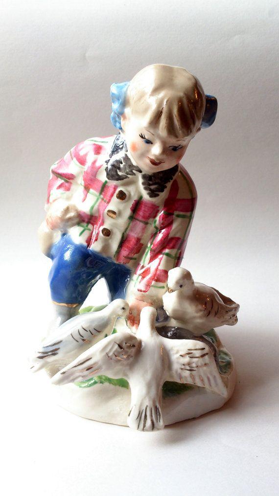 "Soviet large rare porcelain figurine ""Girl with doves"" (Girl feeds doves) Baranivka factory of ceramics USSR 1957-1962"