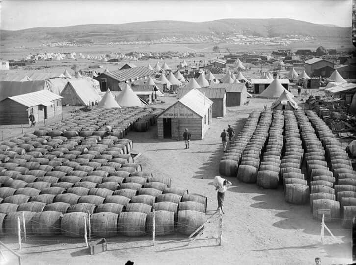French wine for the troops . Mudros , during the Gallipoli campaign .