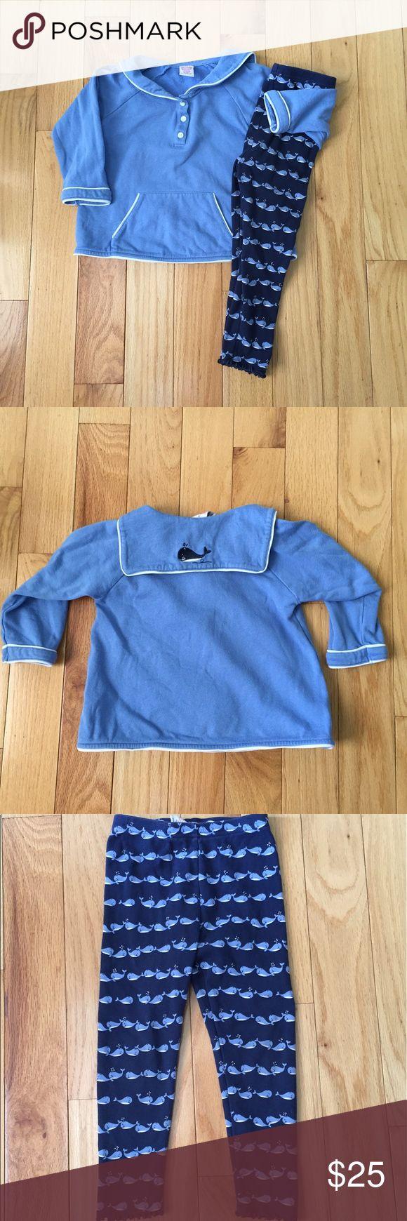 Gymboree Whale Watching set Medium weight sweatshirt & whale 🐳 leggings.  Vguc light wash wear. Gymboree Matching Sets