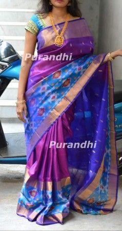 30572c8c18a6bd Purple and dark blue uppada sarees with pochampally border   Uppada ...