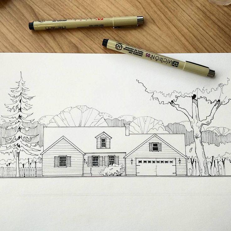 A house somewhere in the USA. So much reminds me of my arch drawing lessons years ago! :) . Домик где-то в Америке. Так мне напоминает наши занятия арх графикой, когда мы учились)) . #customhousedrawing #archillustration #architecture #drawing #usa #house