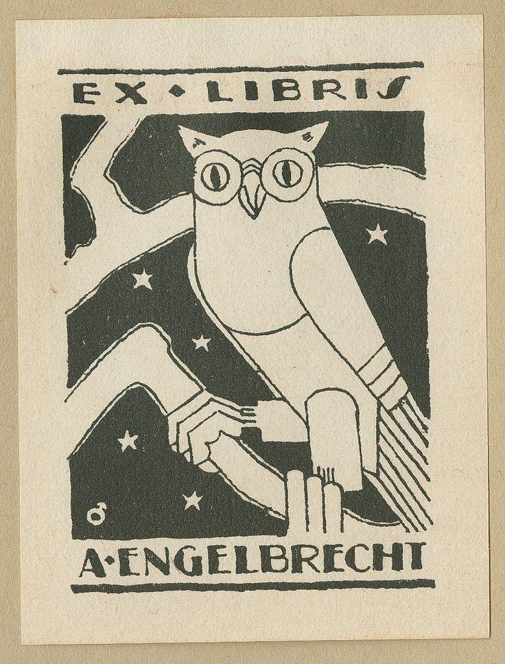 https://flic.kr/p/avEwPZ | Ekslibris, A. Engelbrecht | Ekslibriset til bokhandlar A. Engelbrecht. Motiv: Ugle. Laga av Albert Jærn. 1928. ©…