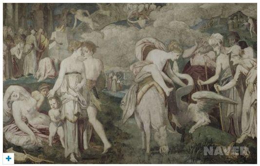 피오렌티노 로소  사람에 의해 잃게된 영원한 젊음, 16세기  풍텐블로 성 소장    인간의 죄로인해 선물과 같은 영원한 젊음을 빼앗긴 채 절망에 빠져있다.  배경에 보이는 악마의 모습과 그림 앞쪽의 사람들의 배치로 작가는 젊음의 선악의 모호함을 표현하고 있는 것 같다.