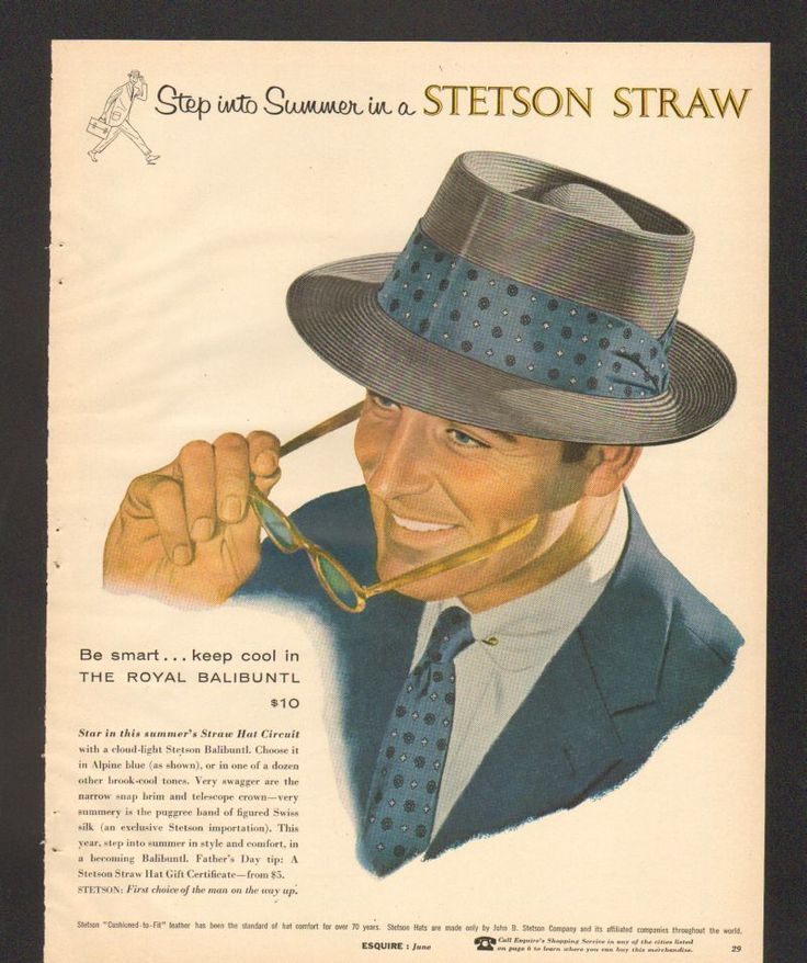 1956 Print Ad Stetson Straw Hat Royal Balibuntl glasses www.advintageplus.com