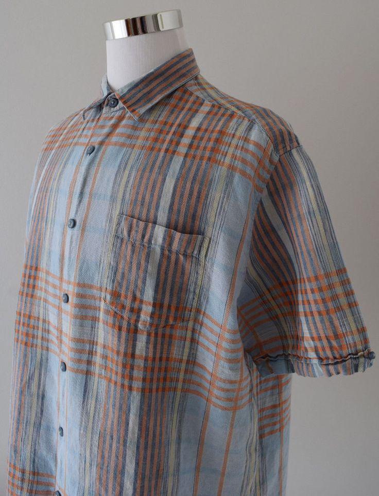 CUBAVERA Men's Shirt 100% Linen Blue Orange Plaid S/Sleeve Button Down Size XXL #Cubavera #ButtonDown