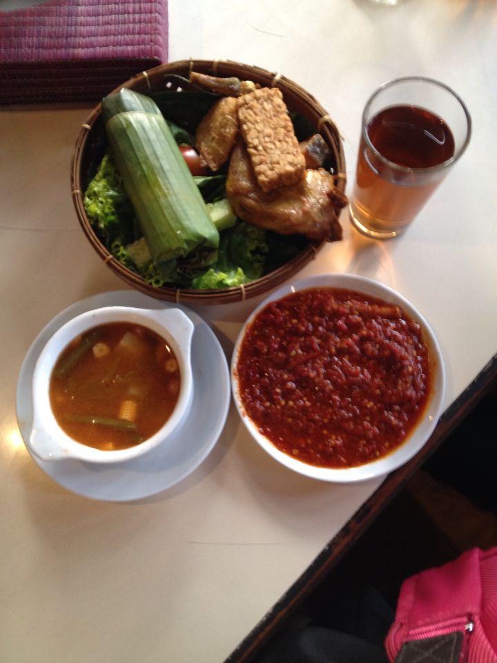 Nasi Timbel Complete  + Sundanese Chili sauce (Sambal) Sundanese Food, Bandung