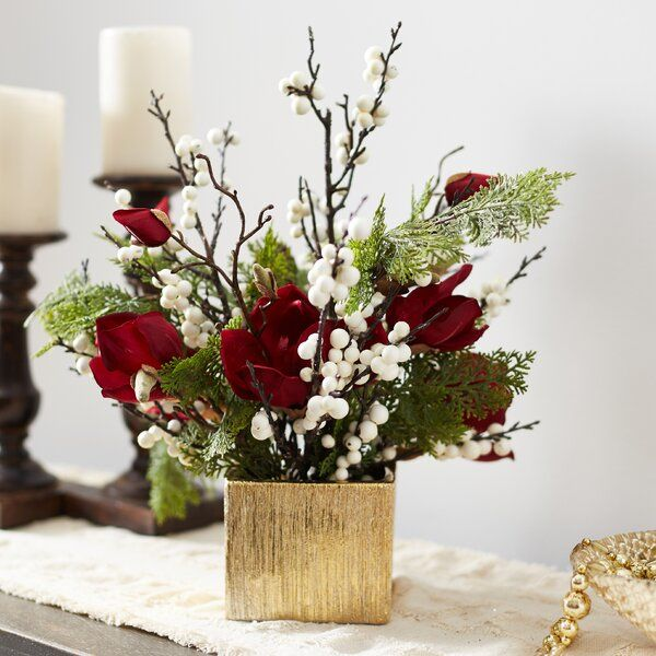 Christmas Mixed Floral Arrangement In Vase Christmas Flower Decorations Christmas Flower Arrangements Holiday Floral Arrangements