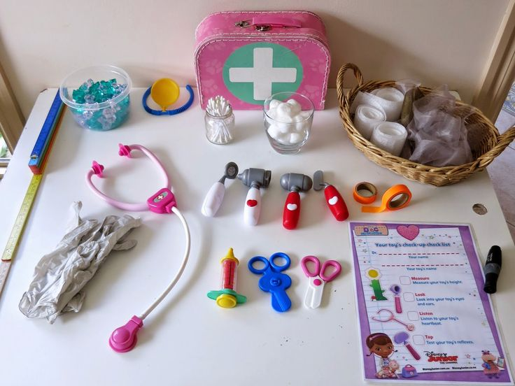 Learn with Play at Home: Toy Doctor Pretend Play with free Printable Doctor's Checklist (learning compassion and responsibility)