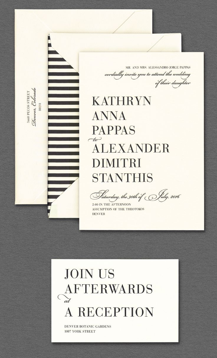 Vera Wang Oyster Wedding Invitation With Black And White Striped Envelope  Lining