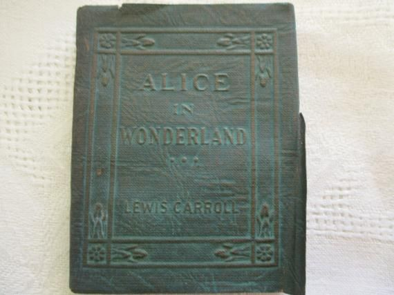 20s Tiny Leather Book Alice In Wonderland Lewis Carroll John