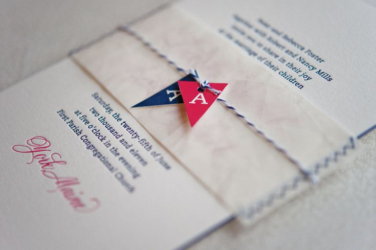 Reclaimed Sail Cloth Belly Band with Hand Cut Monogram Pennants | Nautical Inspired Wedding Invitations by Gus & Ruby Letterpress | www.gusandruby.comNautical Wedding, Paper Blog, Beautiful Paper, Wedding Invitations, Austin Nautical Inspiration, Invitations Ideas, Invitations Inspiration, The Navy, Paper Band
