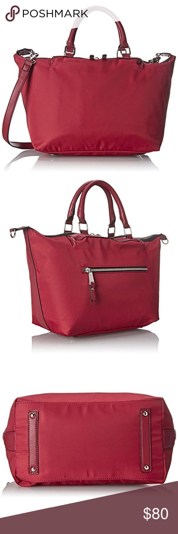 French Connection Piper Red Lined Tote Handbag. French Connection Piper Red Lined Tote Handbag Purse Large.  Manufacturer Color: Red Condition: New with tags Style Type: Tote Bag Collection: French Connection Handle Type: Double Compartment: Open Slip Closure: Two-Way Zip Bag Height (Inches): 9 1/2 Inches Bag Width (Inches): 13 1/2 Inches Bag Depth (Inches): 6 Inches Strap Drop (Inches): 21 Inches Material: PU/Nylon/Cotton/Polyester Fabric Type: Nylon Specialty: Faux Leather Trim Removable…