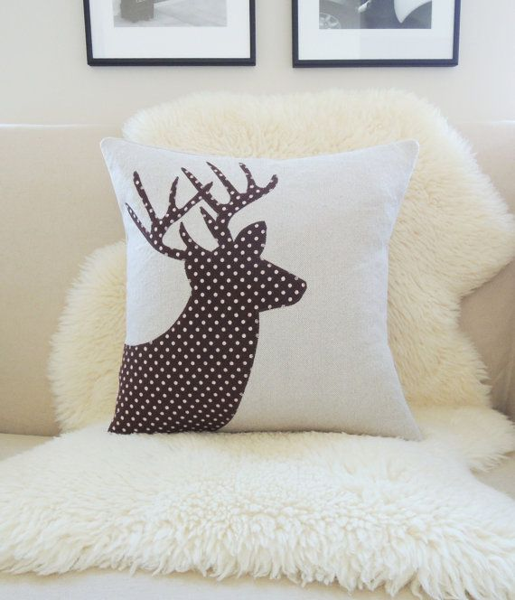 Flannel Deer Pillow Cover, Stag Antler Appliqué Silhouette, Winter Woodland, Rustic Lodge Decor, Carafe Dark Brown & Ivory Polka Dots 18x18