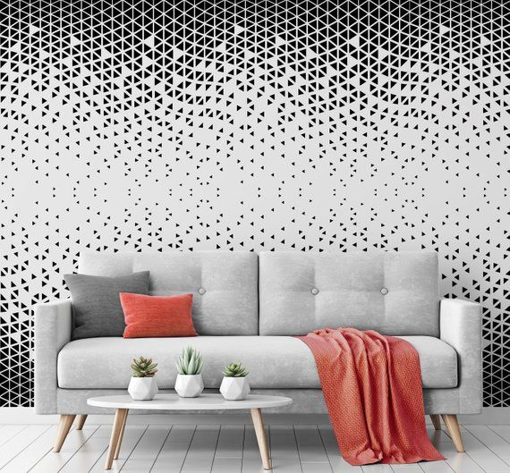 Geometric Pattern Repositionable Wallpaper Peel And Stick Etsy Geometric Wallpaper Living Room Wallpaper Living Room Geometric Decor