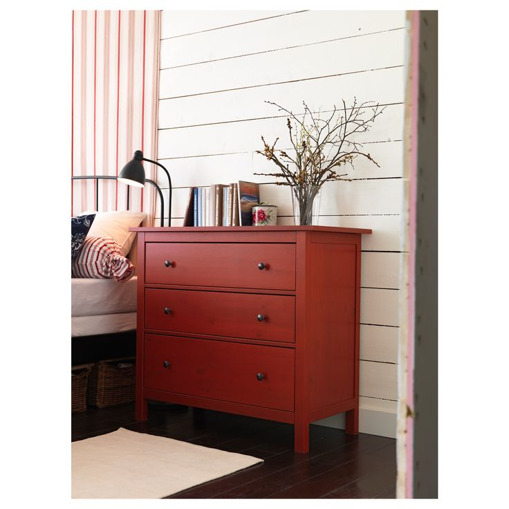 hemnes 3 drawer chest red ikea wn trza in 2019 ikea chest of drawers ikea bedroom ikea. Black Bedroom Furniture Sets. Home Design Ideas