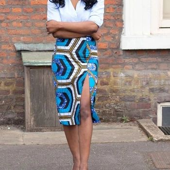 2016夏の秋ヴィンテージファッションプリントペンシルスカートミディ女性膝丈弾性ハイウエストレディース柄スカート段faldas