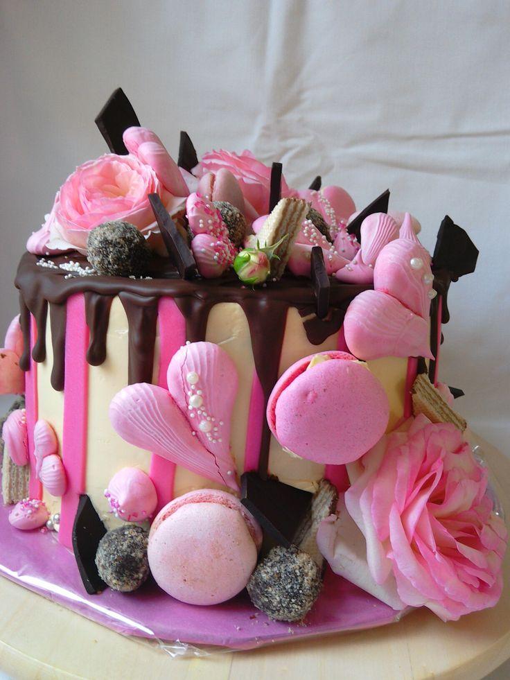 Drip, macrons, rose cake