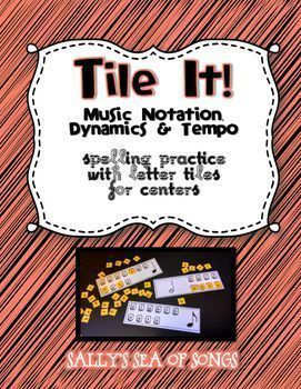 Tile It! Letter Tile Spelling - Music Notation Dynamics Tempo - Spelling with letter tiles is fun!  This is a great center activity with the purpose of practicing the correct names and spellings of music terms. Tile It! Cards can be used with plastic letter tiles commonly found in elementary classrooms. A printable set of letter tiles is included with each set. Print on cardstock, laminate, and cut for an inexpensive way to implement these centers.