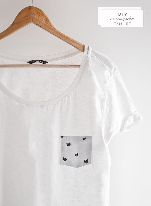 Revamp a white tee with a pocket. // 31 Easy DIY Projects You Won't Believe Are No-Sew