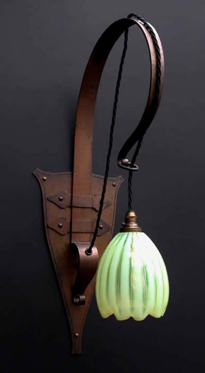 Birmingham Guild of Handicraft - Wall Light, #17. Beaten Copper with Vaseline Glass Shade. Birmingham, England. Circa 1900.