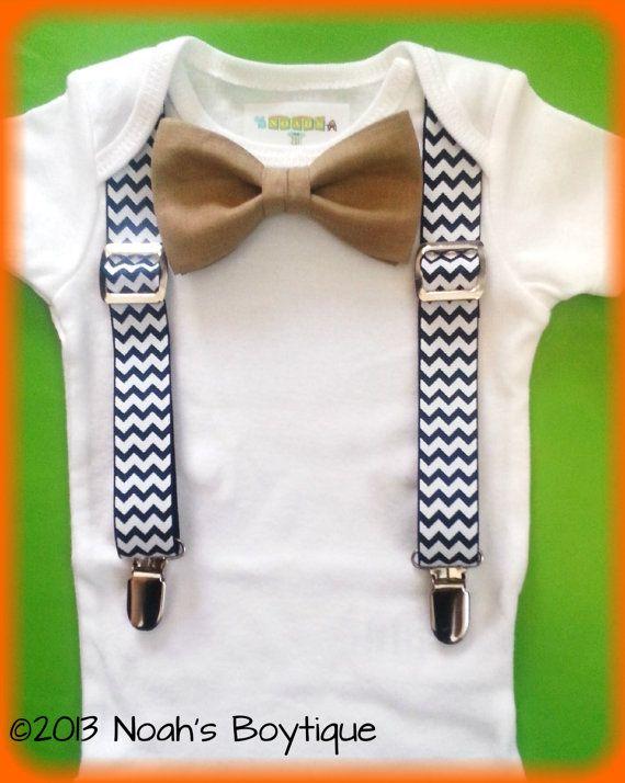 Baby Boy Clothes - Navy Chevron Suspenders Tan Bow Tie - Baby Boy Suspender Outfit - Coming Home Outfit Boy - Wedding Outfit Baby Boy by Noahs Boytique, $19.00
