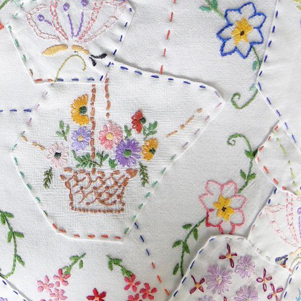 Hand Embroidered Patchwork Cushion - Vintage Flower Basket,